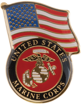 U.S. Marines with American Flag Lapel Pin