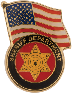 Sheriff Department with American Flag Lapel Pin