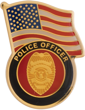 Police Officer with American Flag Lapel Pin
