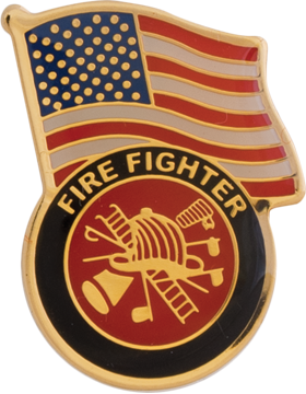 Fire Fighter with American Flag Lapel Pin