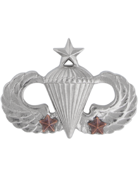 NS-308/2, No-Shine Badge Senior Parachutist w/ 2 Combat Stars