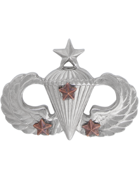 NS-308/3, No-Shine Badge Senior Parachutist w/ 3 Combat Stars