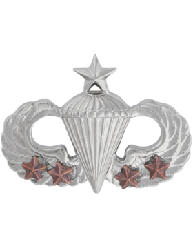 NS-308/4, No-Shine Badge Senior Parachutist w/ 4 Combat Stars