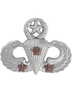 NS-309/3, No-Shine Badge Master Parachutist w/ 3 Combat Stars