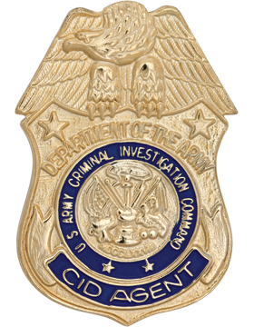 No-Shine Criminal Investigation Cmd Badge w/ Belt Clip (Gold)