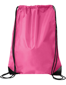 PACK-8886 Custom Sport Bag with Imprint, Black Drawstring Hot Pink