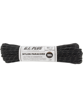 100FT Black w/3 Reflective Tracers 550LB Type III Nylon Paracord