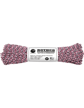 550LB Type III Nylon Paracord 100 Feet Pink Camo