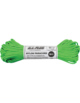 550LB Type III Nylon Paracord 100 Feet Safety Green