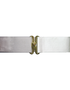 White Pistol Belt with No Eyelets Gold