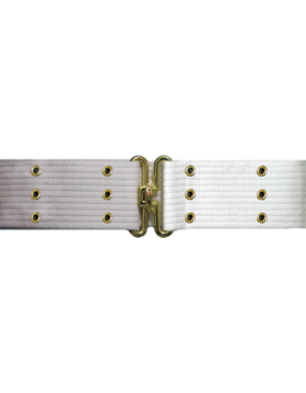 Pistol Belt with Eyelets, White with Gold