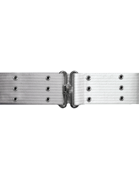 Pistol Belt with Eyelets, White with Nickel