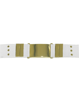 Parade Belt with Eyelets, White with Gold