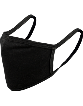 Antimicrobial Cloth Face Mask Black with Matching Ear Straps