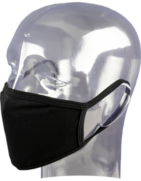Antimicrobial Cloth Face Mask Black with Matching Ear Straps small