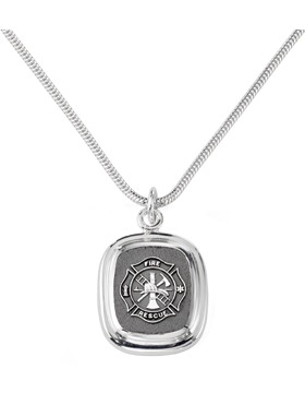 Fire Rescue Pendant Necklace Sterling Silver