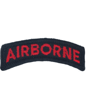 Airborne Tab (PT-103-F) Full Color Red on Black with Fastener