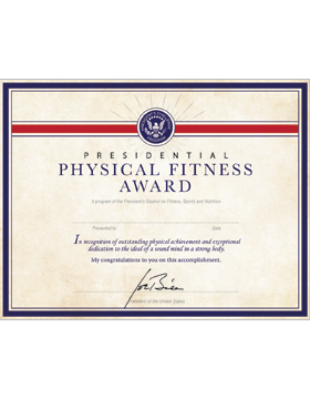 Presidential Physical Fitness Award Certificate, Parchment