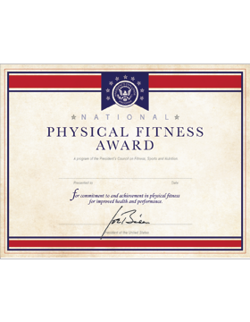 National Physical Fitness Award Certificate, Parchment