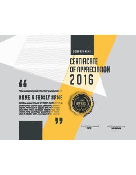 Certificate of Appreciation, Paper