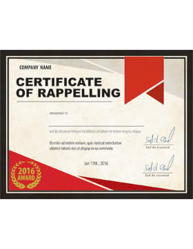 Certificate of Rappelling, Parchment
