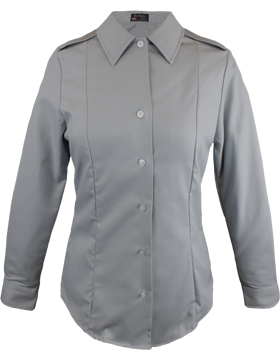 Female Army Gray Long Sleeve Tuck-In Blouse