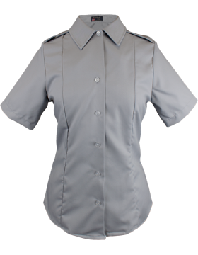Female Army Gray Short Sleeve Tuck-In Blouse