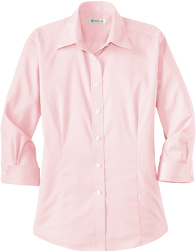 Red House® Ladies 3/4-Sleeve Dobby Non-Iron Button-Down Shirt RH61 Light Pink
