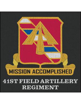 41st Field Artillery Regiment Crest on Dark Gray Rug