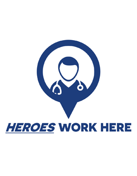 Heroes Work Here Doctor Social Distancing One Sided Yard Sign with Stake