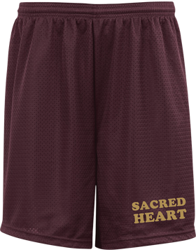 Sacred Heart Maroon Pro Mesh Game Shorts with 7
