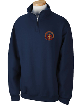 Sacred Heart Emblem Navy Quarter-Zip Sweatshirt 995M