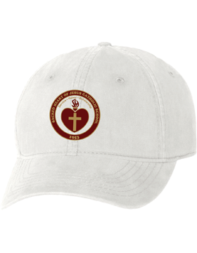 Sacred Heart Emblem White Unstructured Cap