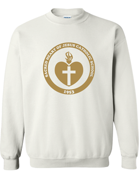 Sacred Heart Emblem (Gold) Crew Neck White Sweatshirt G180