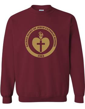 Sacred Heart Emblem (Gold) Crew Neck Garnet Sweatshirt G180