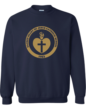 Sacred Heart Emblem (Gold) Crew Neck Navy Sweatshirt G180