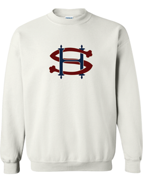 Sacred Heart SH (Burgundy-Navy) Crew Neck White Sweatshirt G180