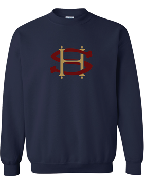 Sacred Heart SH (Burgundy-Gold) Crew Neck Navy Sweatshirt G180