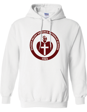 Sacred Heart Emblem (Burgundy) Hooded White Sweatshirt G185