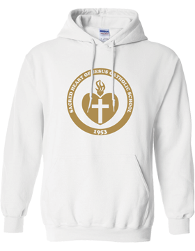 Sacred Heart Emblem (Gold) Hooded White Sweatshirt G185