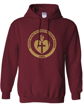 Sacred Heart Emblem (Gold) Hooded Garnet Sweatshirt G185