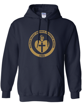 Sacred Heart Emblem (Gold) Hooded Navy Sweatshirt G185