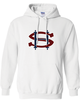 Sacred Heart SH (Burgundy-Navy) Hooded White Sweatshirt G185