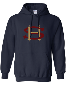 Sacred Heart SH (Burgundy-Gold) Hooded Navy Sweatshirt G185