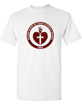 Sacred Heart Emblem (Burgundy) Heavy Cotton White T-Shirt G500