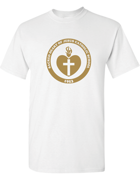 Sacred Heart Emblem (Gold) Heavy Cotton White T-Shirt G500