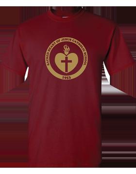 Sacred Heart Emblem (Gold) Heavy Cotton Garnet T-Shirt G500