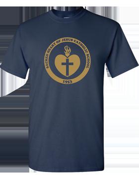Sacred Heart Emblem (Gold) Heavy Cotton Navy T-Shirt G500