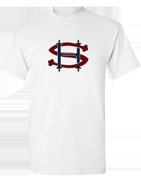 Sacred Heart SH (Burgundy-Navy) Heavy Cotton White T-Shirt G500