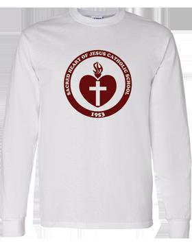 Sacred Heart Emblem (Burgundy) Long Sleeve White T-Shirt G540